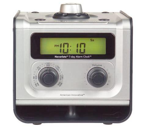 neverlate 7 day alarm clock radio qvc