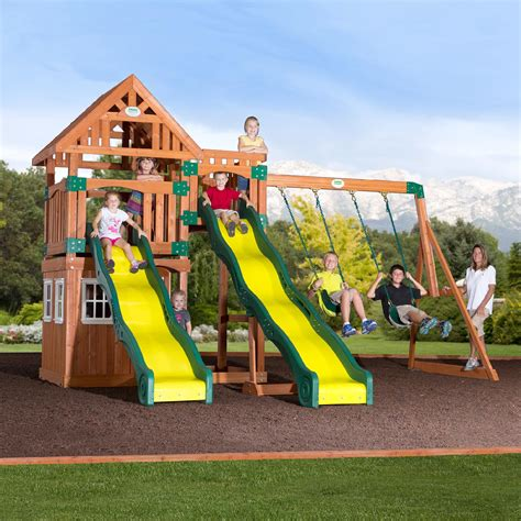 swing and slide set kmart backyard discovery journey cedar swing set free delivery