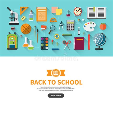 school supplies icon set back back to school flat design vector banner stock vector