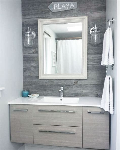 barn board bathroom vanity classic grey reclaimed barn board feature wall in a