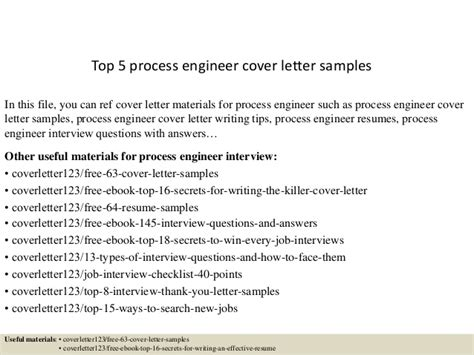 top 5 process engineer cover letter sles