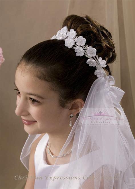 communion hairstyles with headband veil first communion wreath veils v803 flower girl