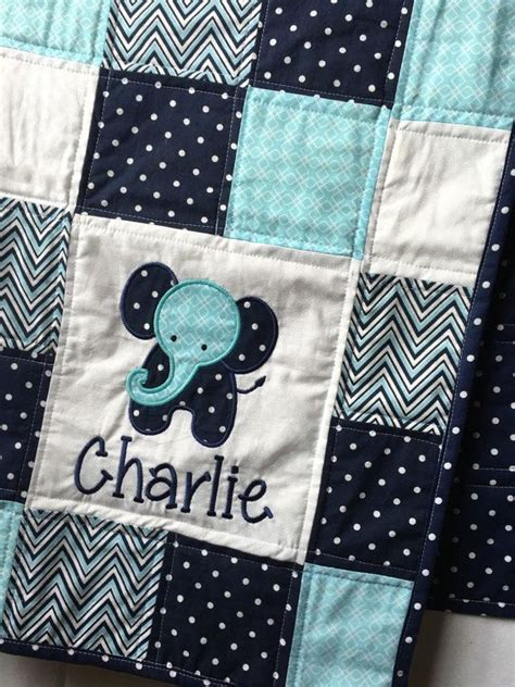 elephant baby quilt  applique   boy baby quilt
