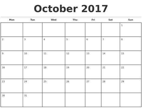 printable calendar month of october 2017 october 2017 monthly calendar template