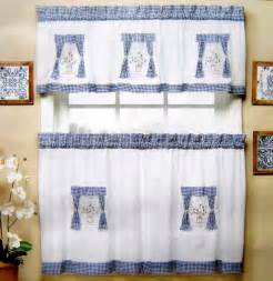 Blue Kitchen Curtains American Style Fabric Embroidered Kitchen Curtain Set Semi Shade Finished Product Coffee
