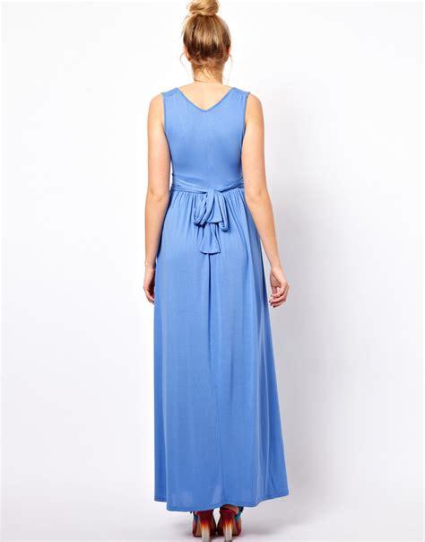 grecian drape maxi dress asos jersey maxi dress in grecian drape in blue lyst