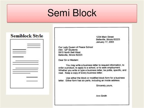 Business Letter Semi Block Style business letter
