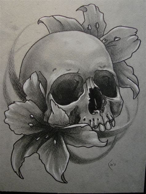 skull and flower tattoos skull drawing at getdrawings free for