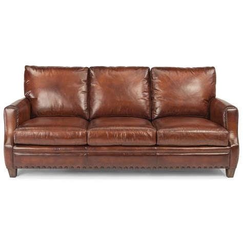 Leather Nailhead Sofa by Flexsteel Latitudes Maxfield Rustic Leather Sofa With