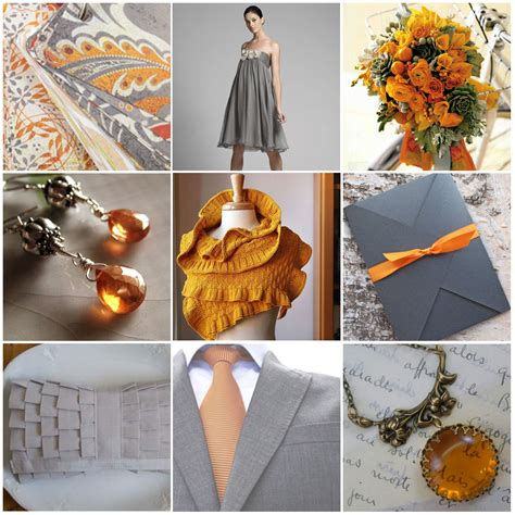 orange wedding colors gray wedding details