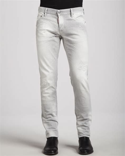 light grey jeans mens dsquared 178 slim distressed jeans light gray in gray for men