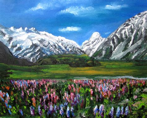 acrylic painting mountains mountains landscape acrylic painting by natalja picugina