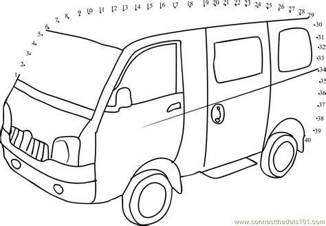 printable school bus dot to dot school van dot to dot printable worksheet connect the dots