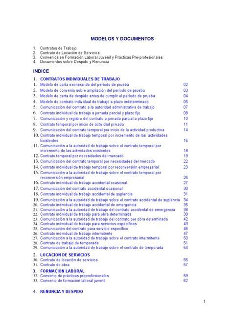 Carta De Trabajo Individual by Modelos De Contratos De Trabajo