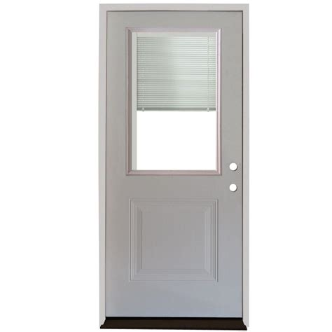 Blinds For Front Doors Steves Sons 36 In X 80 In 1 Panel 1 2 Lite Mini Blind Primed White Steel Prehung Front Door