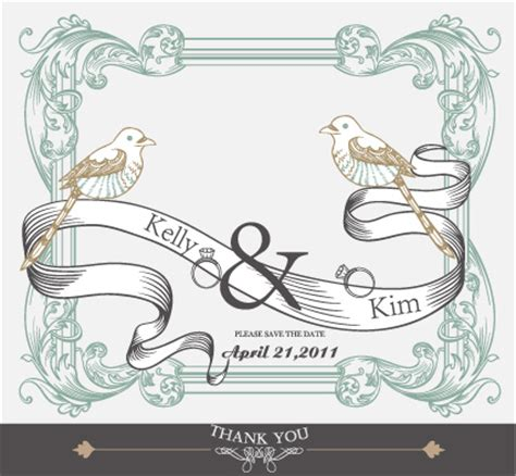 Wedding Card Design In Pagemaker by Set Of Wedding Card Design Elements Vector 01 Vector