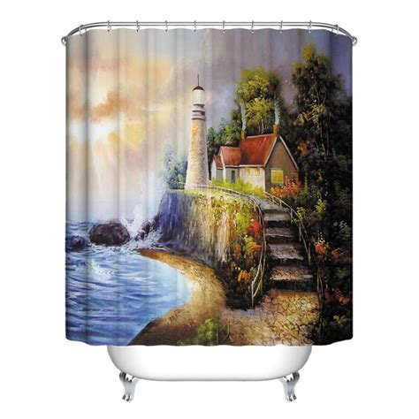Nature Shower Curtains Nature Scenery Bathroom Shower Curtain Waterproof Polyester Home Decor 12 Hooks