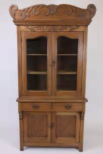 antique oak step back cupboard china cabinet with
