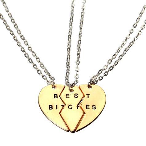 gold broken 3 parts best bitches alloy pendant chain