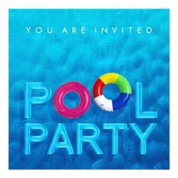 summer swimming pool invitation 5 25 quot square invitation card zazzle