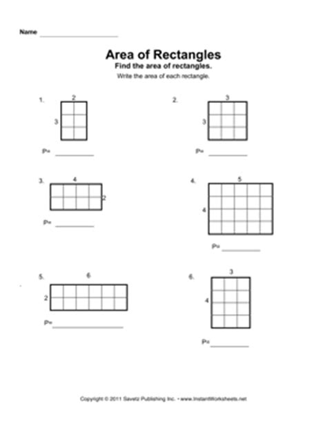 Area Of A Rectangle Worksheet by Area Rectangles 1