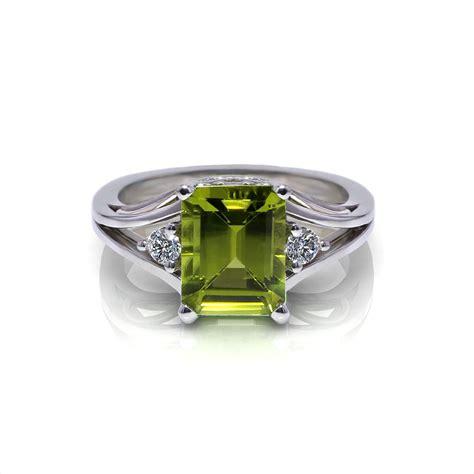 emerald cut peridot ring jewelry designs