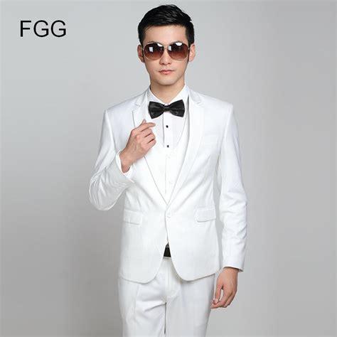 Fashion Brand Groom White Wedding Suits Slim Fit One