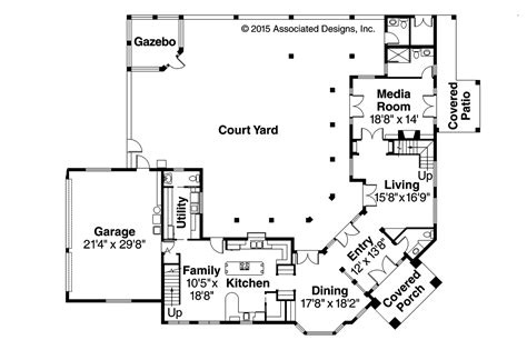 mediterranean floor plans with courtyard mediterranean house plans veracruz 11 118 associated designs