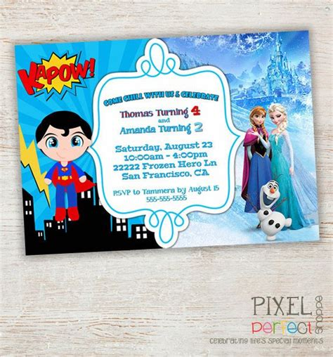 theme names for siblings sibling birthday invitation superhero birthday party