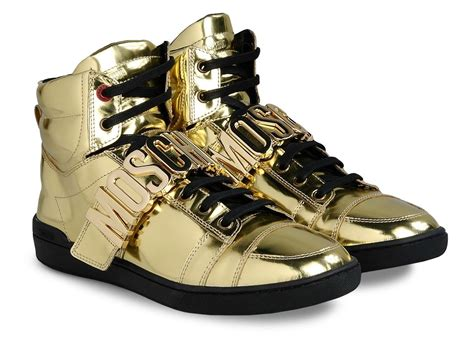 gold high top sneakers for sneaker spotter kcee on moschino gold high tops