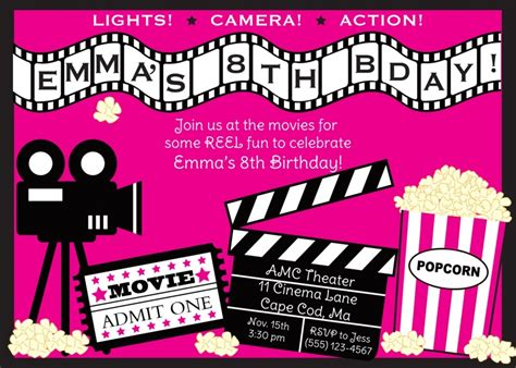 printable birthday invitations movie theme free movie invitations template resume builder