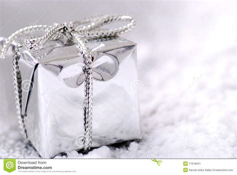 silver christmas gift stock image image of background