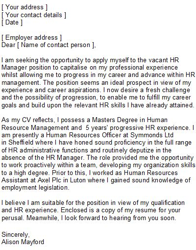 Writing A Cover Letter To Human Resources by Human Resources Covering Letter Sle