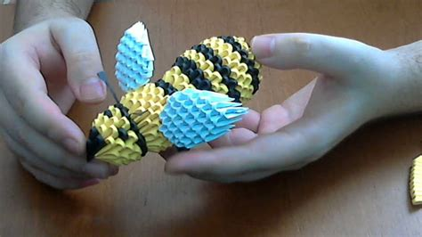 how to make 3d origami honey bee part1