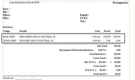acridophagus katun 020 ejemplo de presupuesto mano de obra materiales y mano