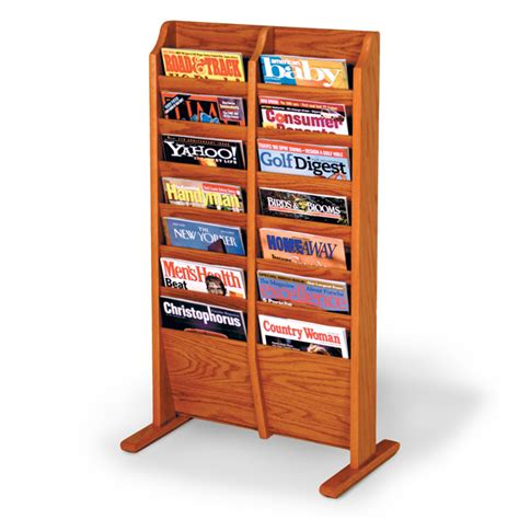 14 pocket floor standing magazine rack braeside displays