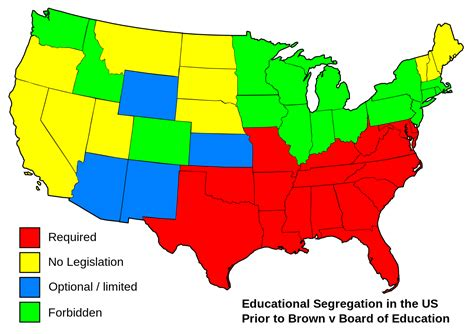 map us schools file educational separation in the us prior to brown map