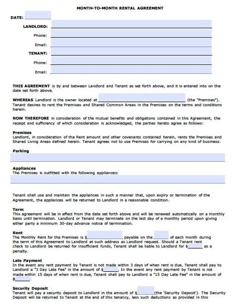 Free Arizona Monthly Rental Agreement Pdf Template Arizona Residential Lease Agreement Template