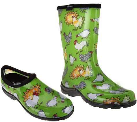 chicken boots sloggers chickens and suns garden shoes or boots qvc