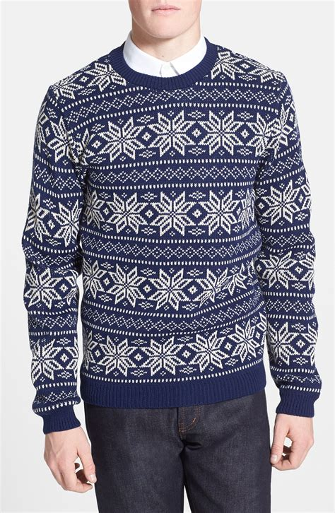 snowflake pattern jumper topman snowflake pattern crew neck sweater in white for