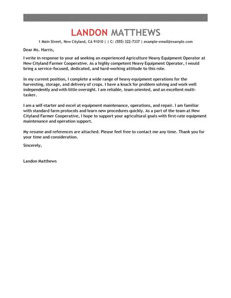 heavy equipment operator cover letter sle cover