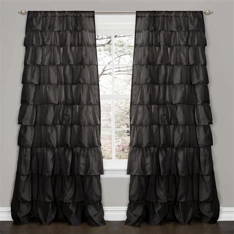 ruffle curtain panel lush decor black 84 inch ruffle curtain panel