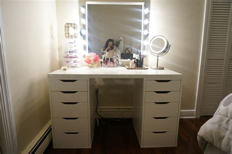 white desk with mirror and lights rectangle white wooden makeup with rectangle silver