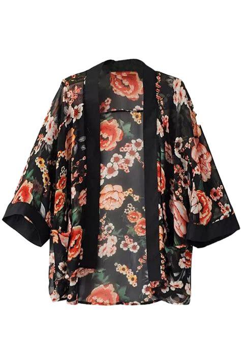 Kimono Top by Vintage Floral Open Front Black Chiffon Kimono Top Oasap