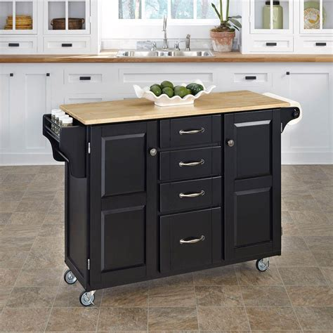 home styles create a cart natural kitchen cart with quartz home styles create a cart black kitchen cart with natural