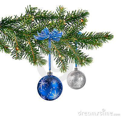 blaue silberne glaskugeln auf weihnachtsbaum