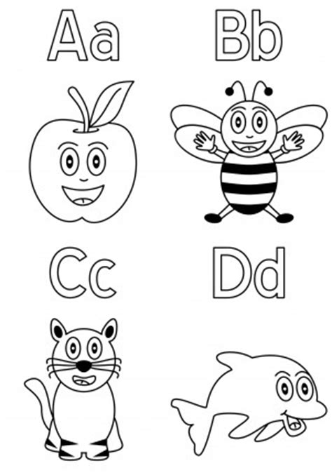 coloring pages abcd how to draw a b c d