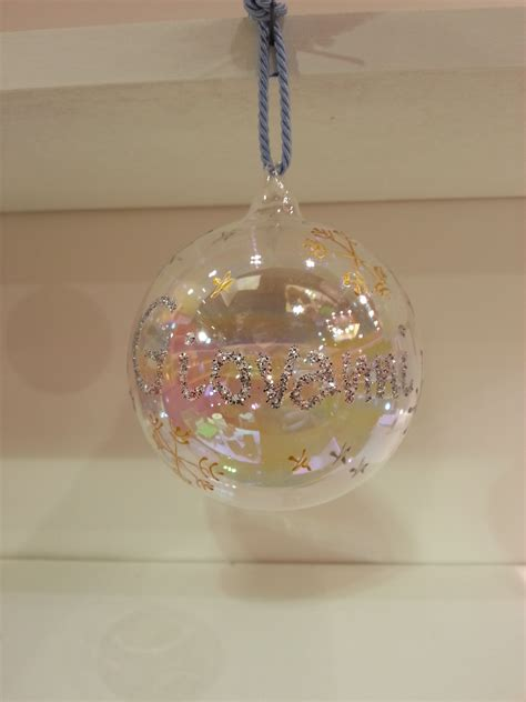 customisable hand decorated glass christmas bauble