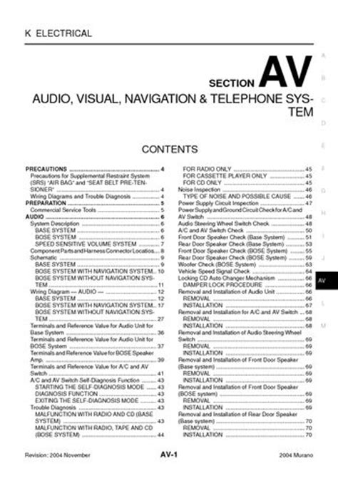 download car manuals pdf free 2004 nissan murano parking system download 2004 nissan murano audio visual system section av pdf manual 204 pages
