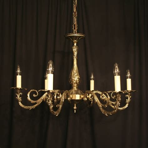 An Italian Cast Brass 6 Light Antique Chandelier 257584 Chandelier Antique Brass
